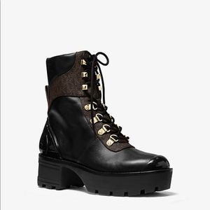 Michael Kors Khloe and Leather and Combat Boot